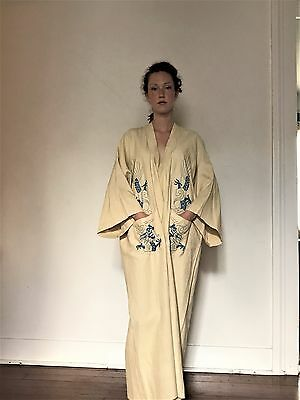 Vintage Antique Pongee Silk Hand Embroidered Robe Dragons med/lg