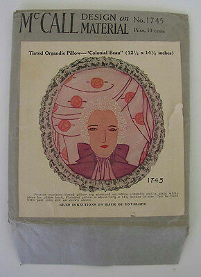 """1929 McCALL DESIGN ON ORGANDIE MATERIAL """"COLONIAL BEAU"""" PILLOW PATTERN"""