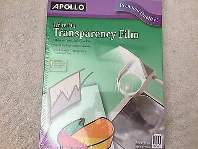 APOLLO ~ WRITE-ON ~ TRANSPARENCY FILM ~ 100 SHEETS ~ 8.5 X 11 in.