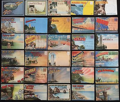Lot 30 Souvenir Postcard Folders Packets Fold-Outs United States 1940's~1950's
