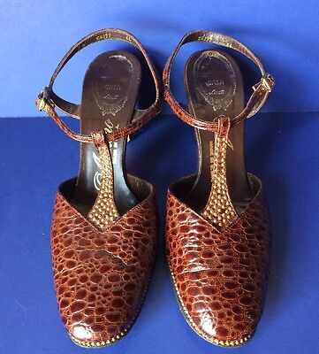 Womens Vintage 40s 70s AMANO Brown Mock Croc Gold Bead High Heel Shoes Size 8