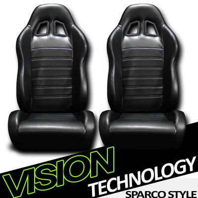 JDM SP Style Black PVC Leather Reclinable Racing Bucket Seats w/Sliders Pair V24