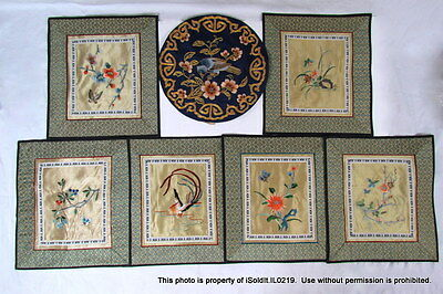 LOT 7 ASIAN EMBROIDERY ON SILK PIECES for Wall Hangings, Pillows + BEAUTIFUL!