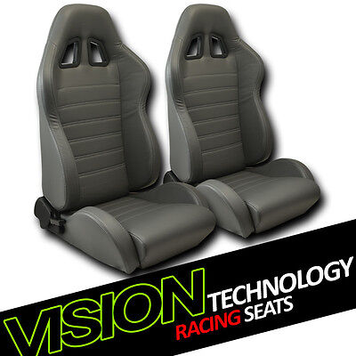 JDM SP Style Gray PVC Leather Reclinable Racing Bucket Seats w/Sliders Pair V12
