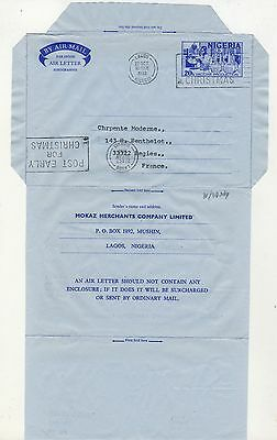 NIGERIA - 1980 - S.T.O. AIR LETTER FOR MOKAZ MERCHANTS C° used LAGOS to FRANCE