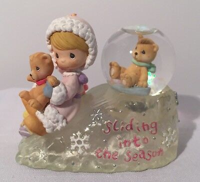"Christmas Enesco Precious Moments Girl ""Sliding Into The Season"" Globe Year 2000"