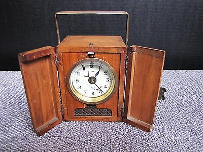 Rare Antique HAC Wurttrmberg Crossed Arrows  Carriage Clock w/ Wooden Case