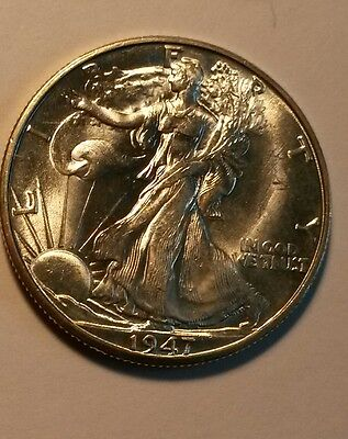 1947-d  uncirculated  walking liberty half dollar very white luster!