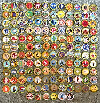 Lot of 138 Different Boy Scouts of America BSA Plastic Back Merit Badges