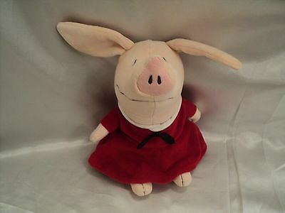 2004 Olivia Soft Small Stuffed Animal Pig Toy In Red Dress Boys & Girls All Ages