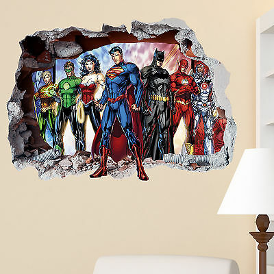 Justice League CT Smashed Wall Sticker Wall Crack Superhero Kids Boys Girls Bed