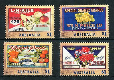 Australian 2016 Nostalgic Fruit Labels, set of 4 stamps, used
