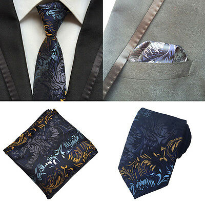 Men Fashion Blue Yellow Flower Silk Tie Pocket Square Handkerchief Set Lot HZ144