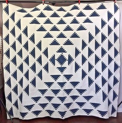 Antique Hand Sewn Pine Tree Quilt with Provenance 1860