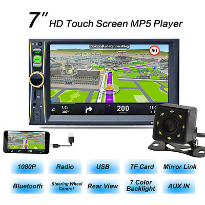 "7"" 2DIN COCHE MP5 MP3 Reproductor Radio Estéreo Bluetooth GPS NAVI FM TV +"