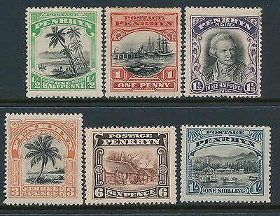 1920 Penrhyn Definitives Set Of 6 Mint Hinged Mm/mh