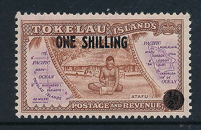 1956 TOKELAU ONE SHILLING on ½d SURCHARGE FINE MINT MNH/MUH