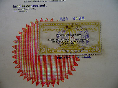 PHILIPPINES REVENUE STAMP DOCUMENT Japanese JAPAN Occupation REGISTER of DEED