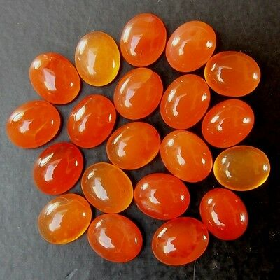 20 Pc LOT OF 11x9mm OVAL CABOCHON LOW GRADE NATURAL EARTH MINED CARNELIAN