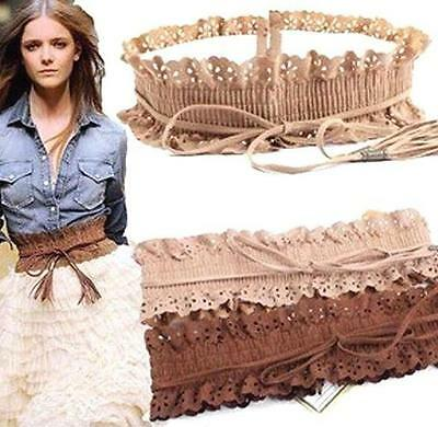 2 Colors Belts Women Lady Wide Stretch Fringed Lace Elastic Waistband Belts