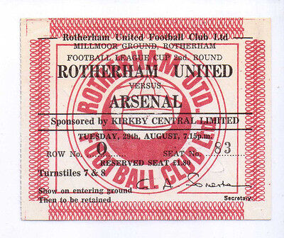 1978 Match Ticket Rotherham United v Arsenal L Cup TWO AUTOGRAPHS TO REVERSE