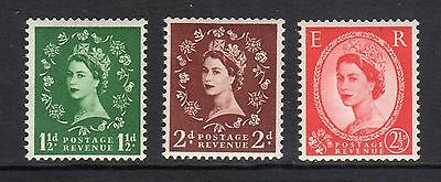 QEII, 3 definitive stamps, SG 517a-518a-519a, perf 15x14, W153, MNH, (111)