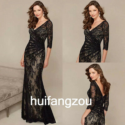 Black Formal Mother Of the Bride Dresses Gowns Size 4 6 8 10 12 14 16 18 20 Plus