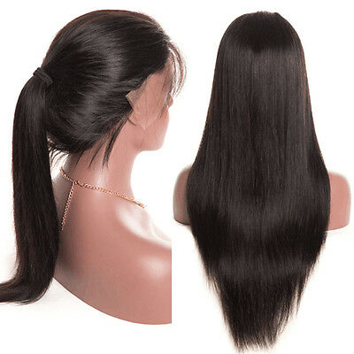 Human Hair Wigs Womens Straight Glueless Lace Front Full Wig With Baby Hair New