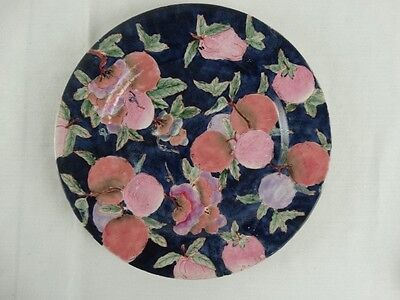 Vintage Chinese Polychrome Famille Rose Display Plate Hand painted Blue Ground