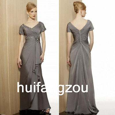 Gray Formal Mother Of the Bride Dresses Gowns Size 4 6 8 10 12 14 16 18 20 Plus