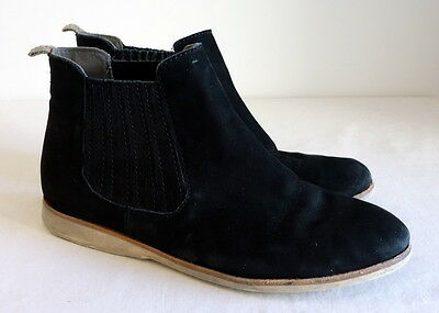 Rollie Black Suede Leather Ankle Boots Approx Size AU 8 Fit