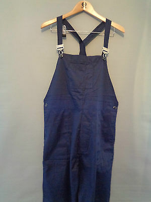 Vtg NOS blue cotton work trousers bibs overalls dungarees pants