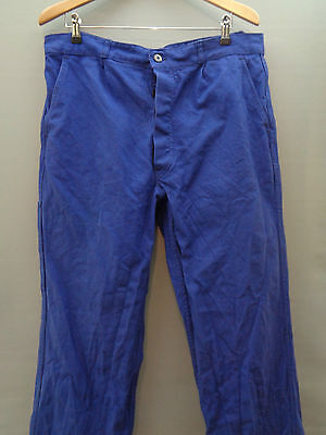 Vtg French blue cotton work trousers worker chore pants