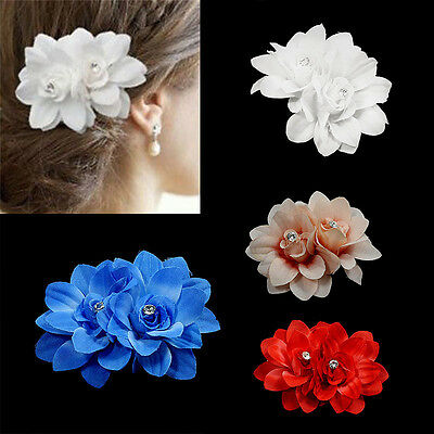 Elegant Bridal Rose Flower Hairpin Floral 4 Colors Hair Clip For Wedding Party