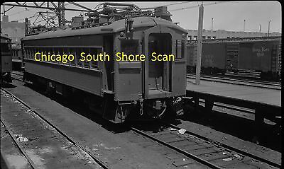 CHICAGO SOUTH SHORE & SOUTH BEND RR ORIGINAL B&W TROLLEY NEGATIVE CAR 1 IN 1950s