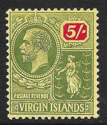 British Virgin Islands 1922 5/- Green & Red/Pale Yellow SG 85 (Mint)