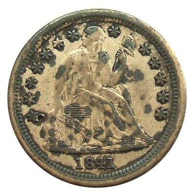 USA 1841-O SEATED LIBERTY DIME : OLD AMERICAN SILVER COIN : Scarce ...t01