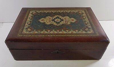 Vintage wooden writing box / slope painted lid compartmentalised with ink pots