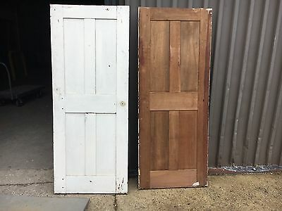 "pAIR ~ Early 19th century antique 4 panel DOORS 71"" x 28"" X 1"" possible shutters"