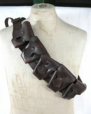 Ww2 Dated 1941 Ww1 Pattern Five Pocket Leather Bandolier