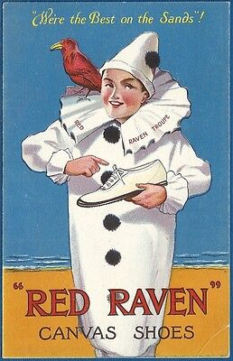 Postcard - Advertising - Red Raven Canvas Shoes - Clown
