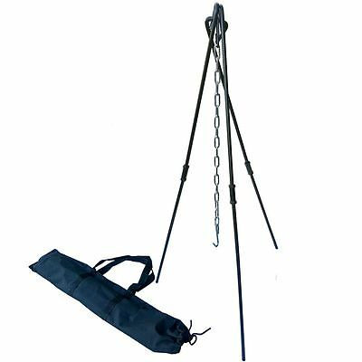 Dutch Oven Tripod Collapsible TAKEDOWN Steel Bushcraft Camp Cooking Bag Inc