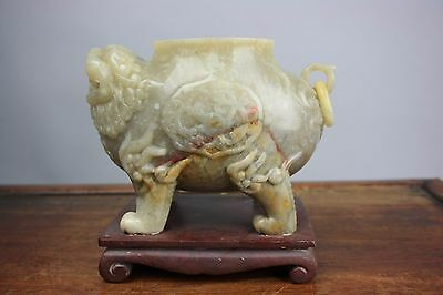 19th/20th C. Chinese Possibly Jade/Shousan Stone Carved Censer Burner