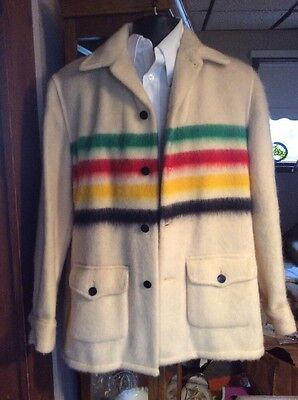 Rare  Vintage 1950's Wool Hudson Bay 4 Point Blanket Jacket Mens Small
