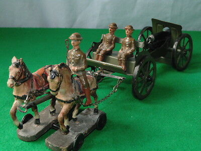Vintage Elastolin / Lineol Ww1 British Army Artillery Team Made In Germany #