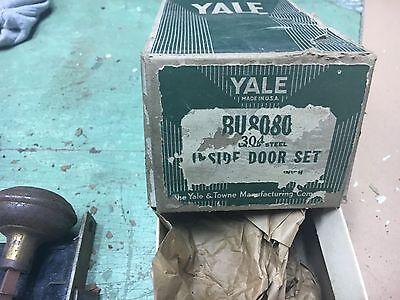 "never used new old stock Yale hardware inside door knob set 5.5"" L needs polish"