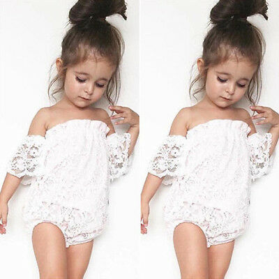 Infant Newborn Baby Girl Lace Romper Bodysuit Sunsuit Jumpsuit Outfit Clothes US