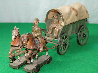 Vintage Elastolin Ww1 British Army Supply Wagon With Horses Made In Germany