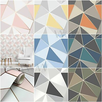 Fine Decor Apex Geometric Wallpaper Rose Gold Yellow Blue Black Feature Wall New