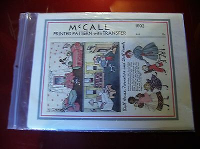 McCalls Printed Pattern 1002 with transfer Doll House Furniture & Doll Family N